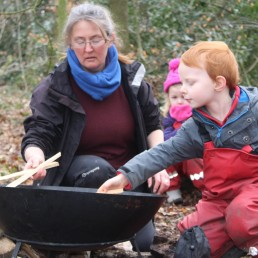 Building the fire at Forest School