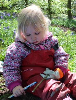 Whittling sticks at Forest School