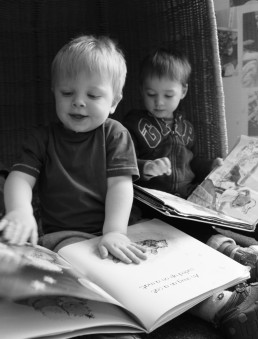 Reading Books at Nursery
